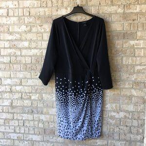 Ann Taylor Wrap Front Fade Black White Dress Sz 18